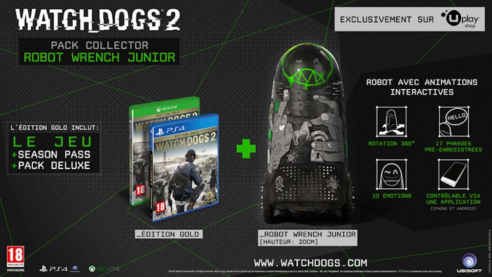 Watch Dogs 2 Wrench Junior Robot Collector's Pack