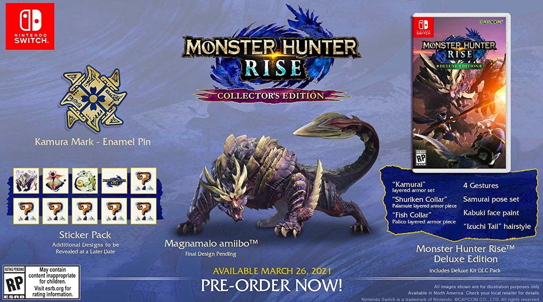 Содержимое коллекционного издание Monster Hunter Rise для Nintendo Switch